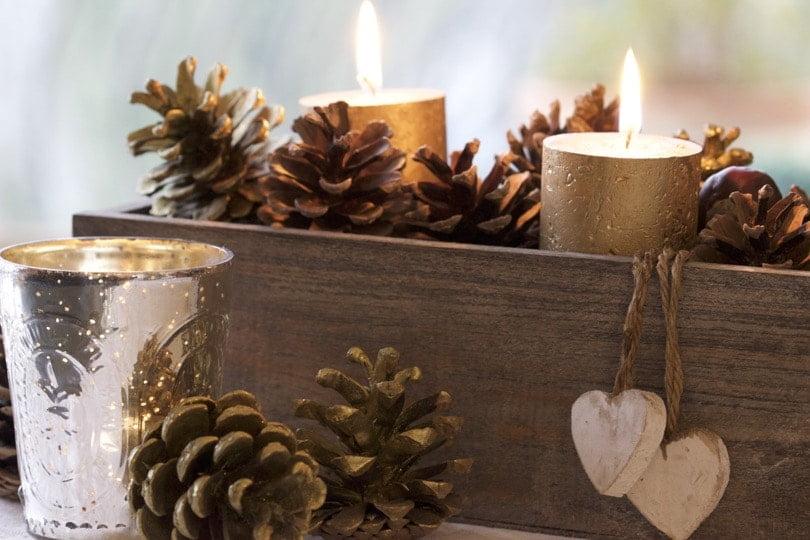 Décoraton de Noël naturelle, bougies dorées et fruits des bois.