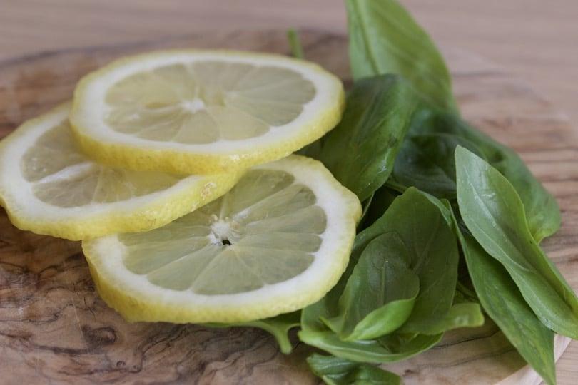 citron et basilic pour une eau détox