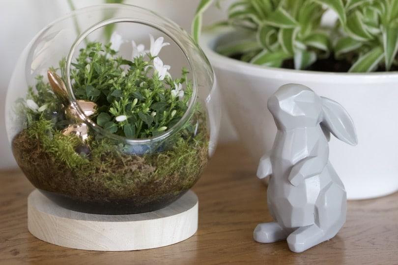 Une Décoration De Pâques, Le Lapin Rose Dans Mini ...
