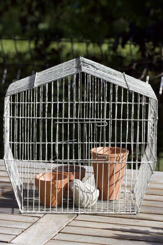Pots en terre cuite pour détourner une cage à oiseaux au jardin