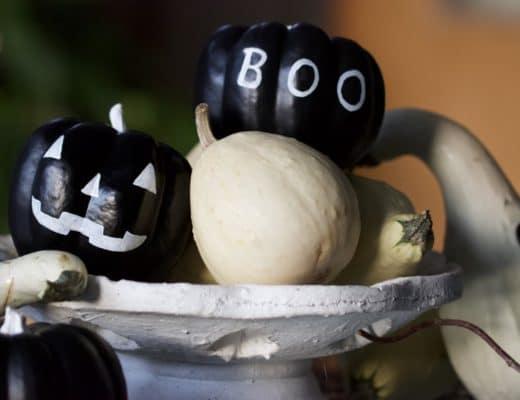 Coloquintes en noir et blanc pour Halloween