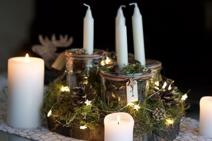 DIY un centre de table avec des bougies pour l'Avent.