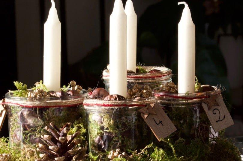 diy un centre de table avec des bougies pour l 39 avent un brin naturel. Black Bedroom Furniture Sets. Home Design Ideas