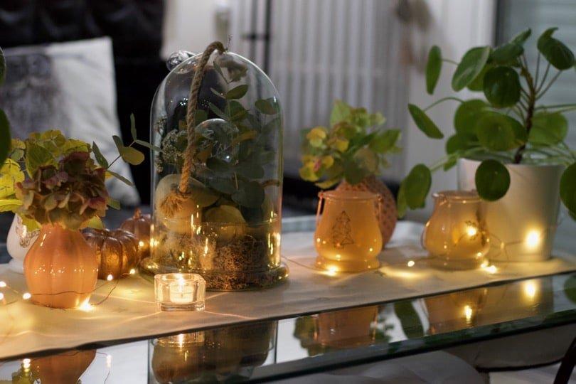 Chemin de table avec des coloquintes illuminé