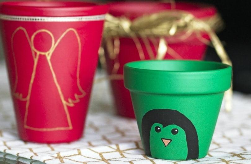 Pots pingouin et ange pour le calendrier de l'Avent original