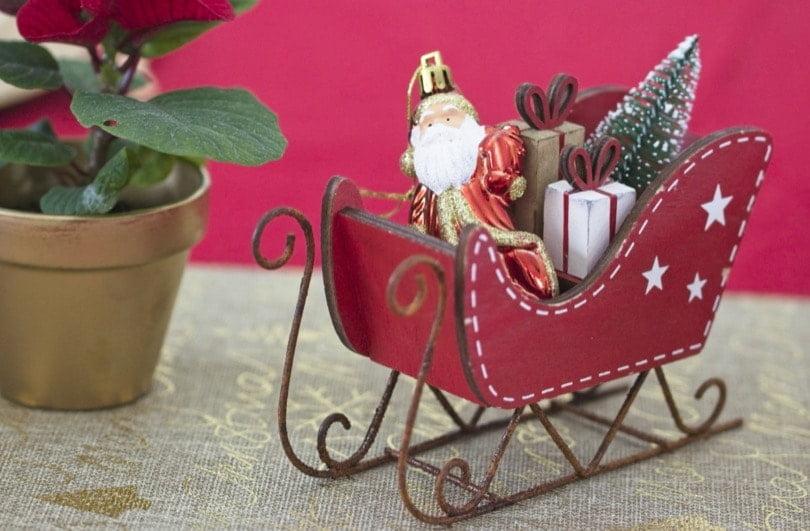 Traineau du père Noël pour la table du réveillon