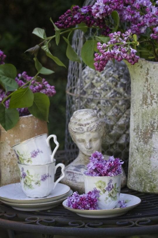 Le coin romantique shabby chic du jardin avec du lilas