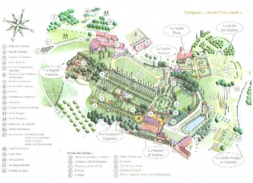 Plan des jardins d'Eyrignac