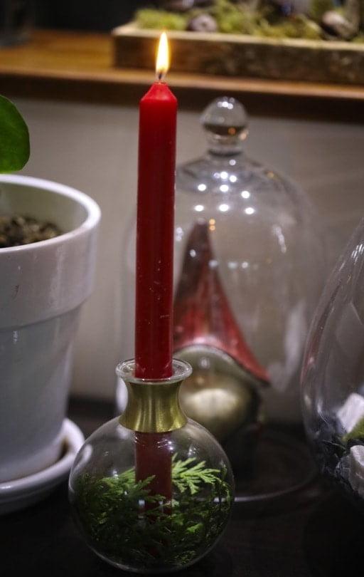 Vase et bougeoir de Noël