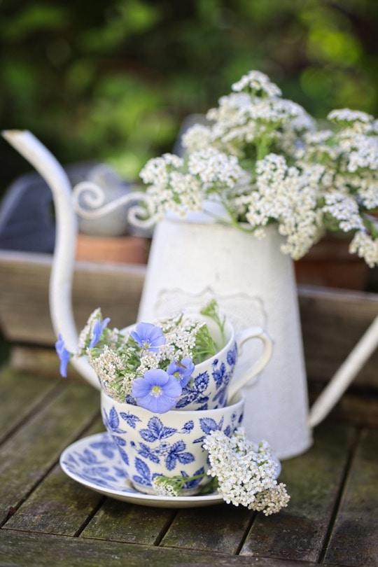 Achillées et fleurs de lin